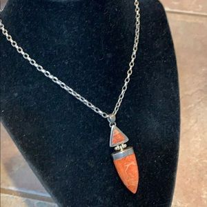 Rustic southwestern sterling silver coral 925